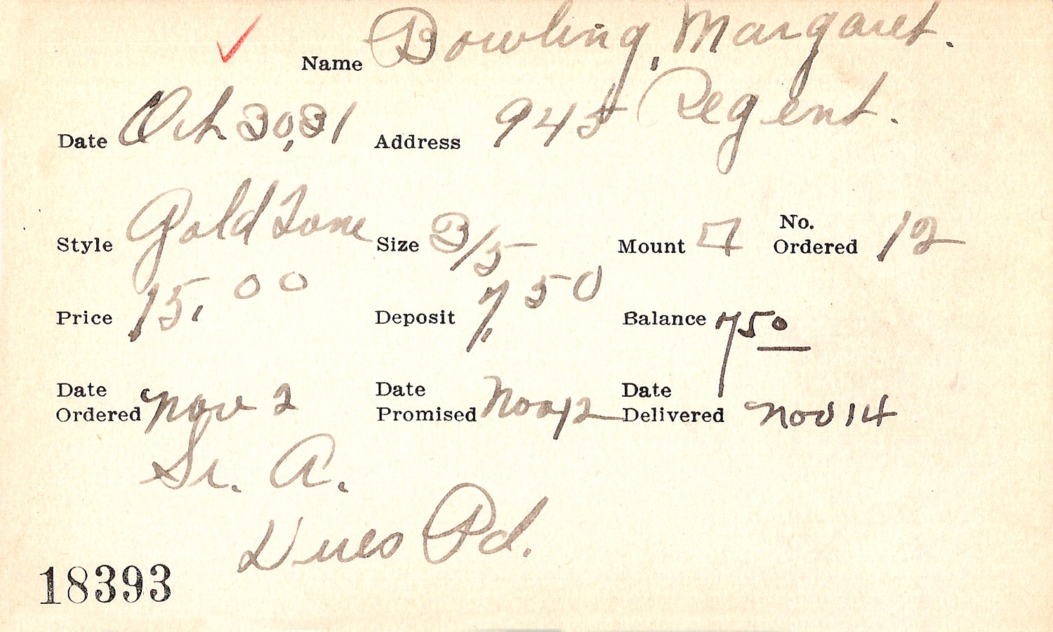 Index card for Margaret Bowling
