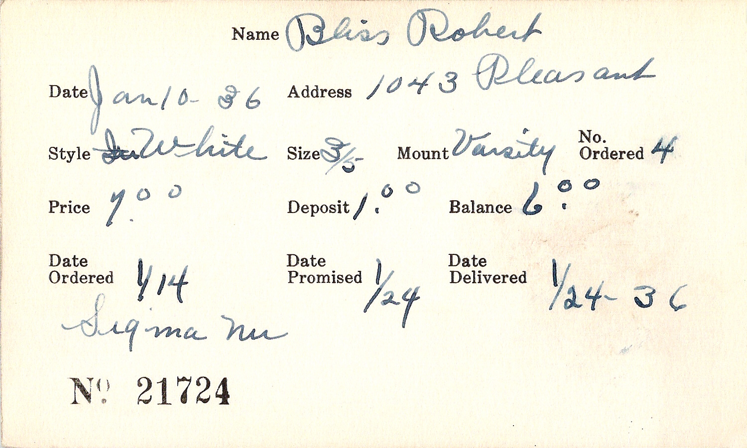 Index card for Robert Bliss