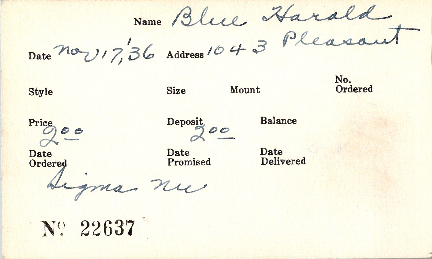 Index card for Harold Blue