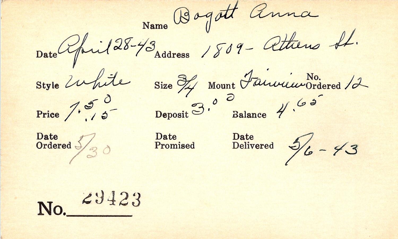 Index card for Anna Bogott
