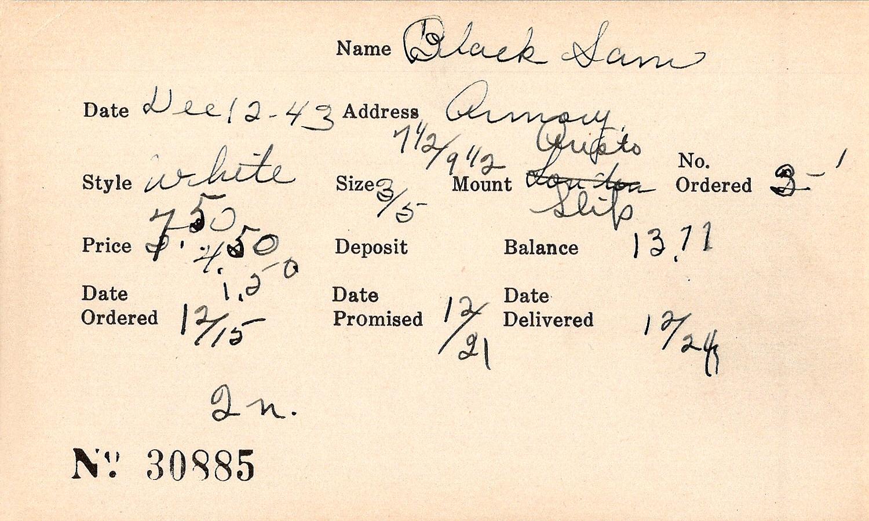 Index card for Sam Black