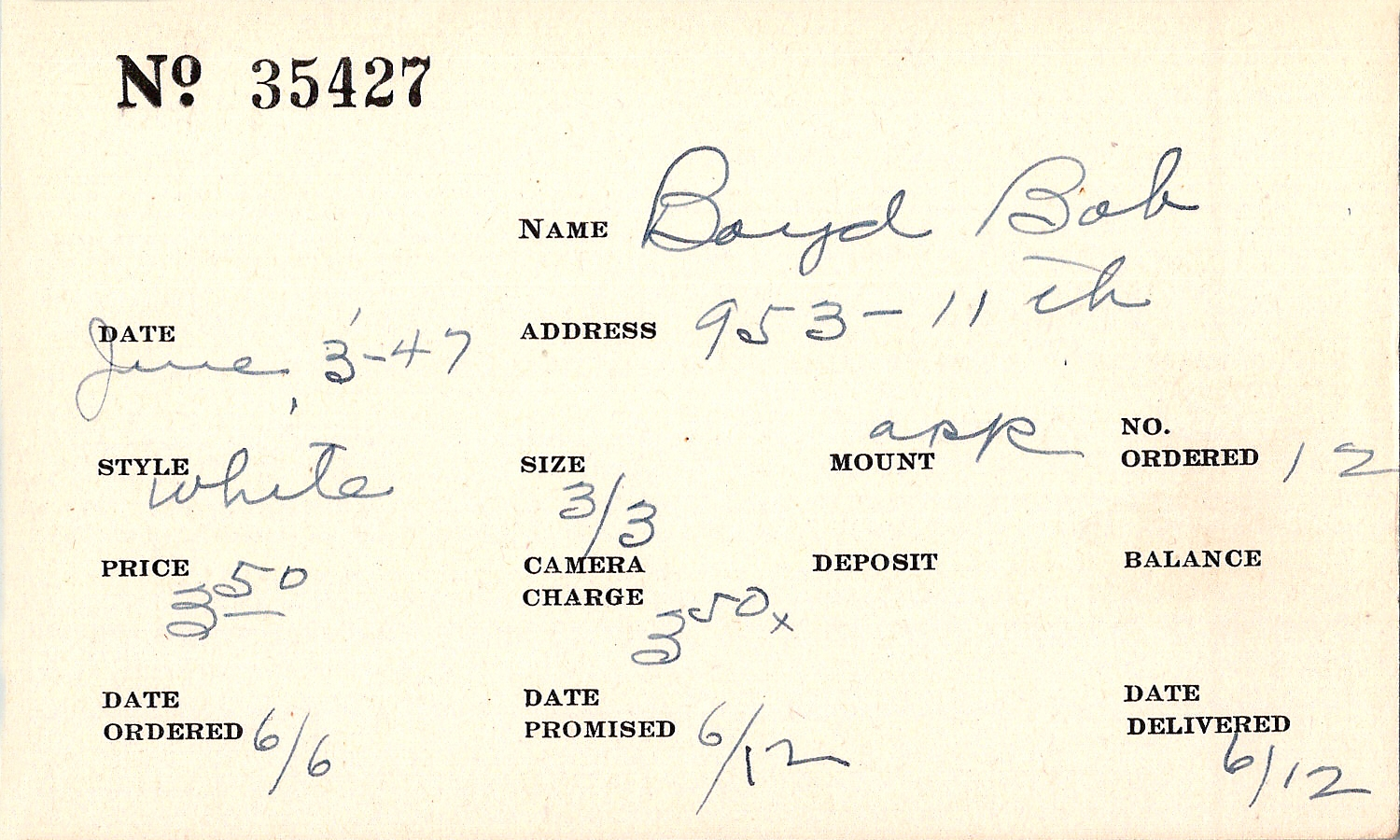 Index card for Bob Boyd