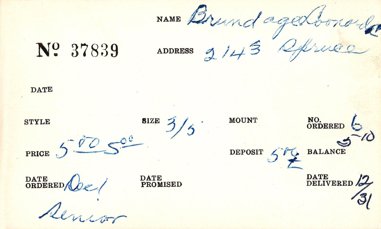 Index card for Donald C. Brundage