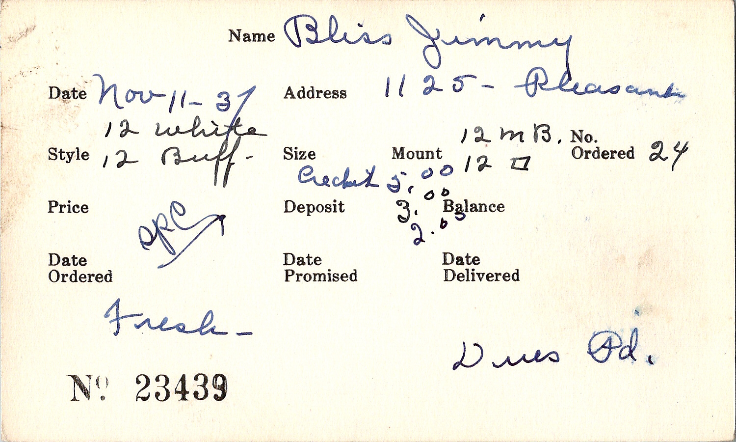 Index card for Jimmy Bliss