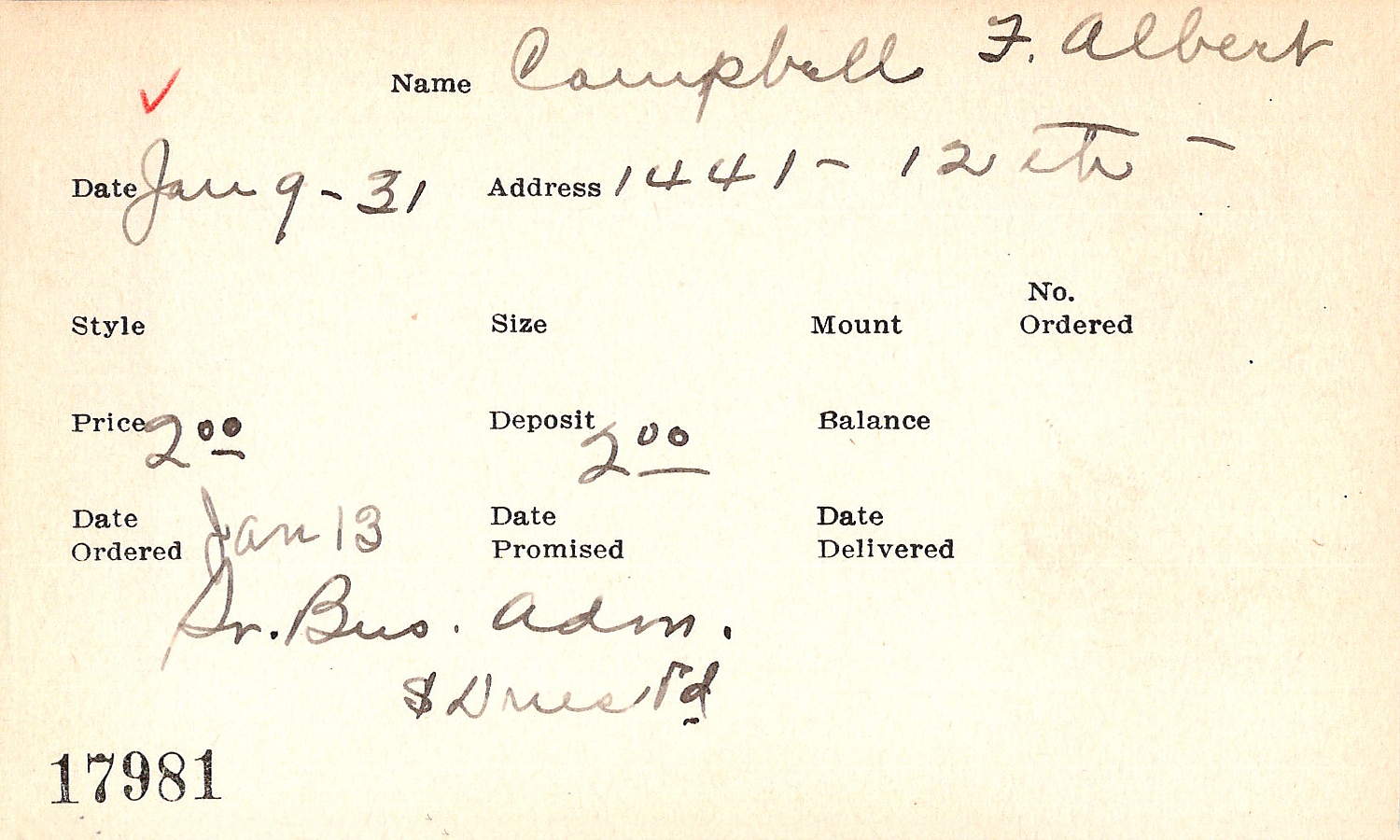 Index card for F. Albert Campbell