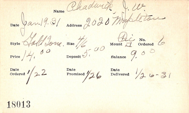 Index card for J. W. Chadwick
