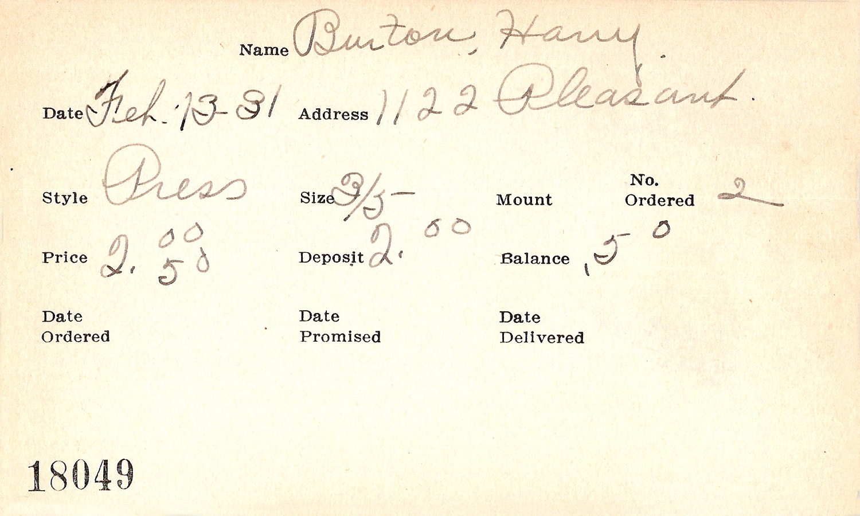 Index card for Harry Burton