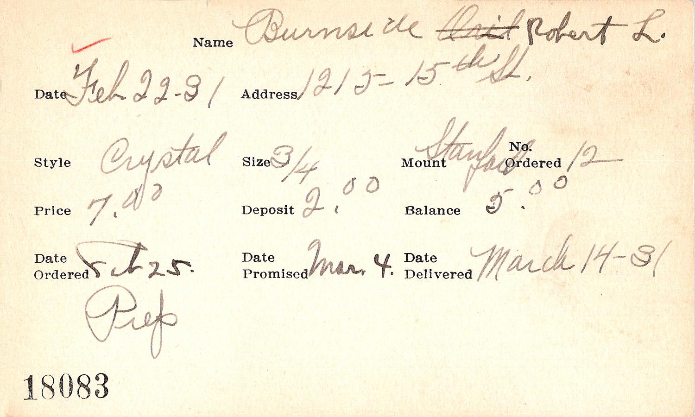 Index card for Robert L. Burnside