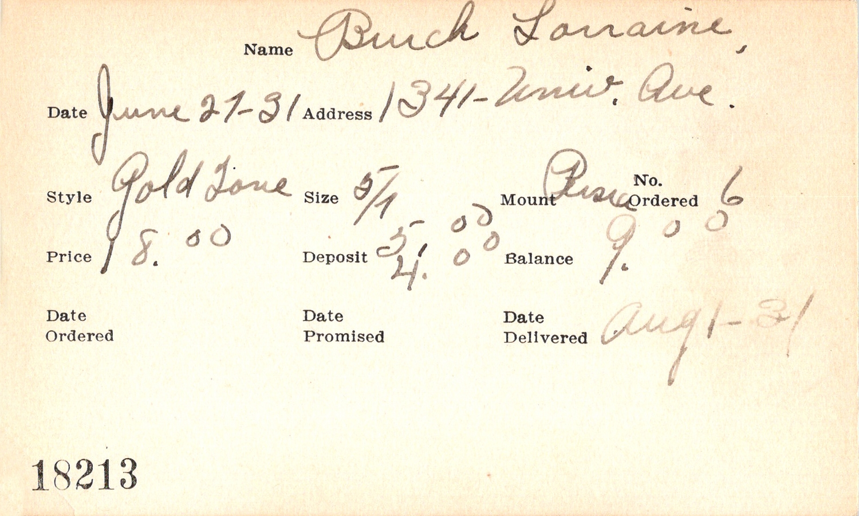 Index card for Lorraine Burch