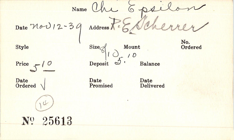 Index card for Chi Epsilon