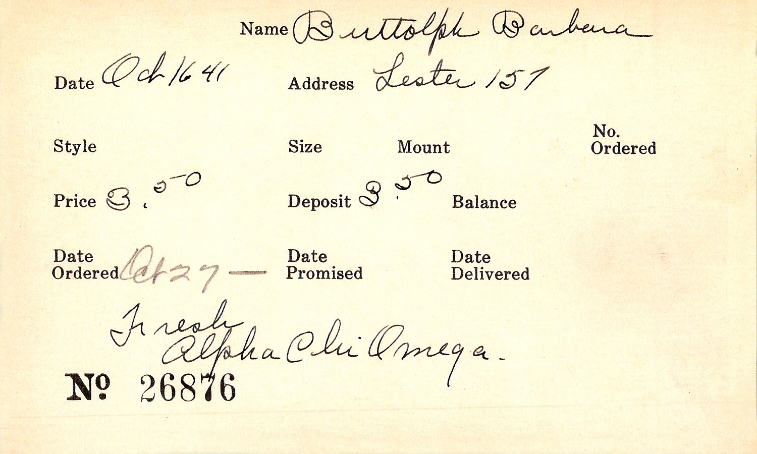 Index card for Barbara Buttolph