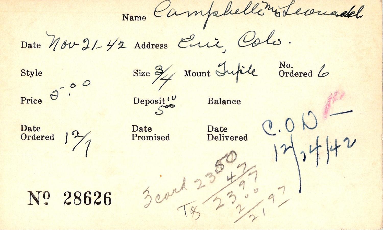 Index card for Mrs. Leonard Campbelle