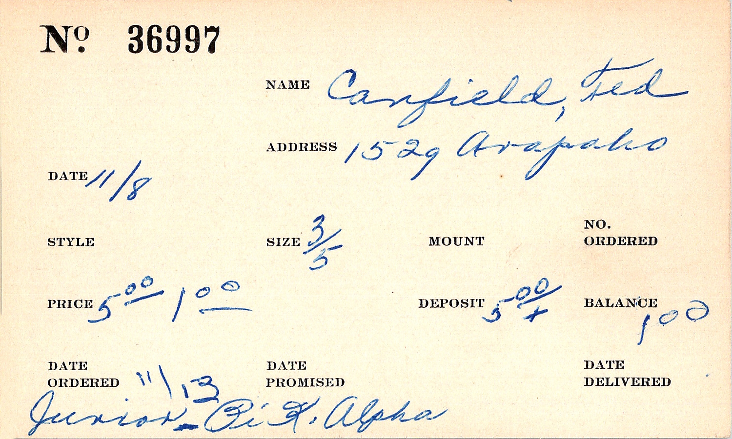 Index card for Ted Canfield