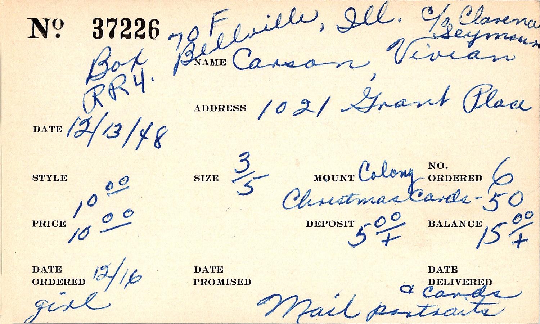 Index card for Vivian Carson
