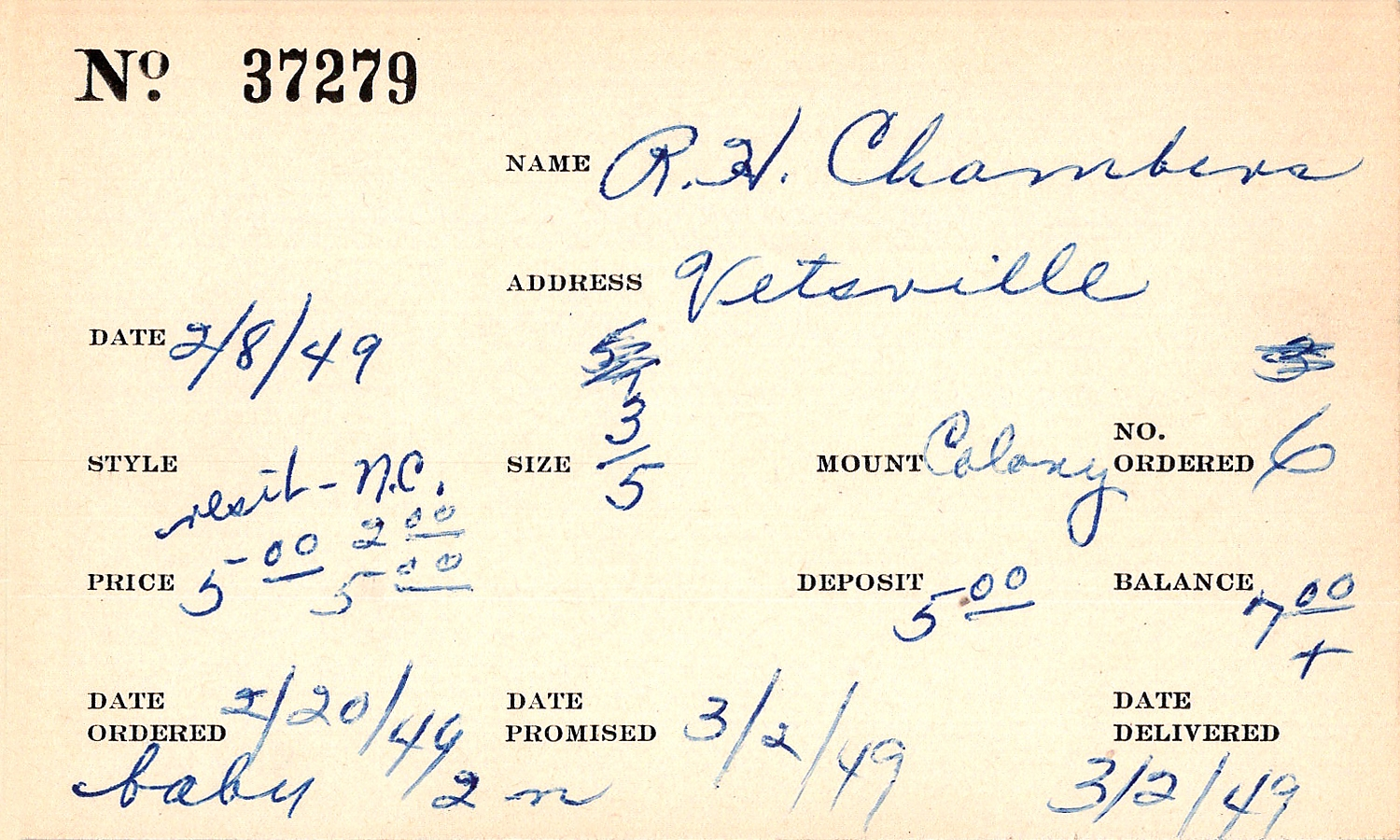 Index card for R. H. Chambers