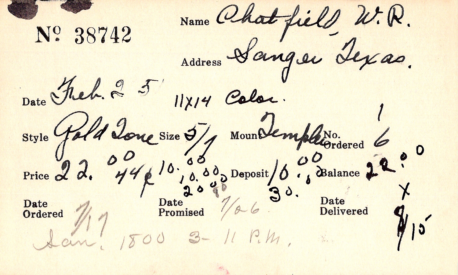 Index card for W. R. Chatfield