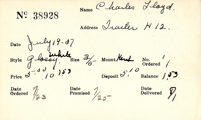 Index card for Lloyd Charles
