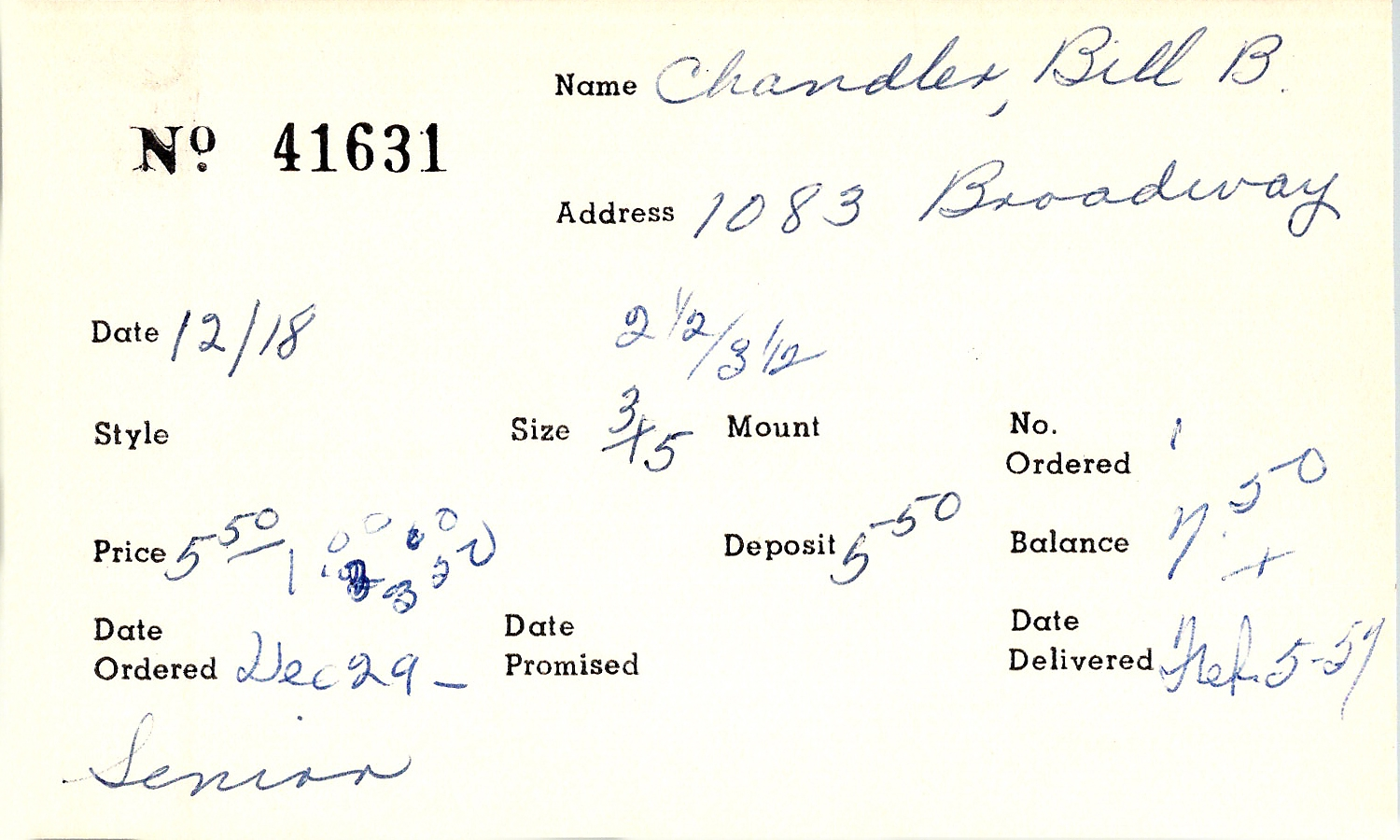 Index card for Bill B. Chandler