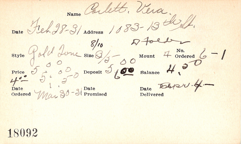 Index card for Vera Corlett