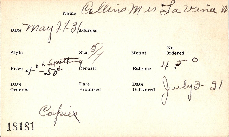Index card for LaVina [M.?] Collins