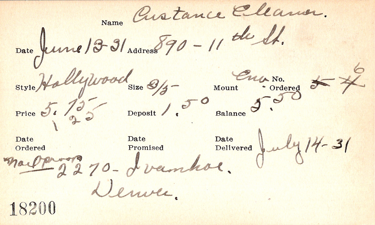 Index card for Eleanor Custance