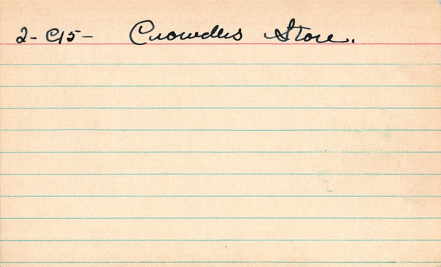 Index card for Crowder [Jewelry]