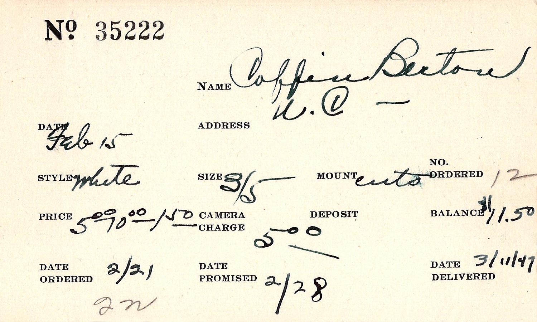 Index card for Berton Coffin