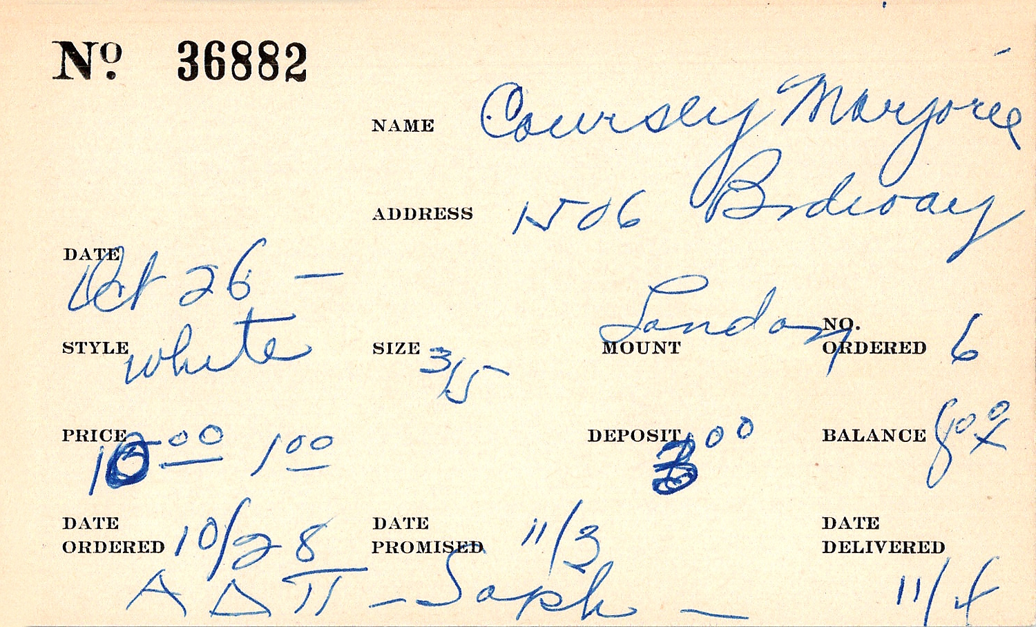 Index card for Marjorie Coursey