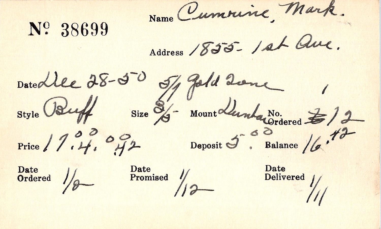 Index card for Mark Cumrine