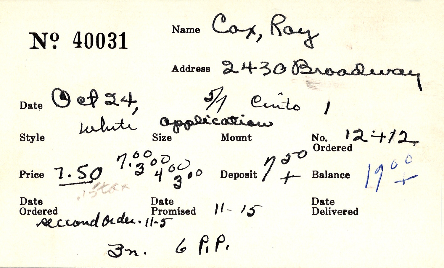 Index card for Roy Cox