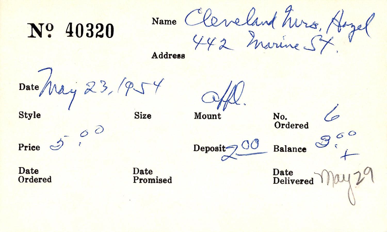 Index card for Hazel Cleveland
