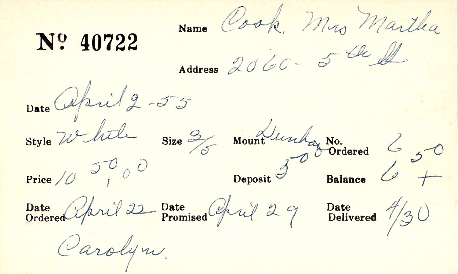 Index card for Martha Cook