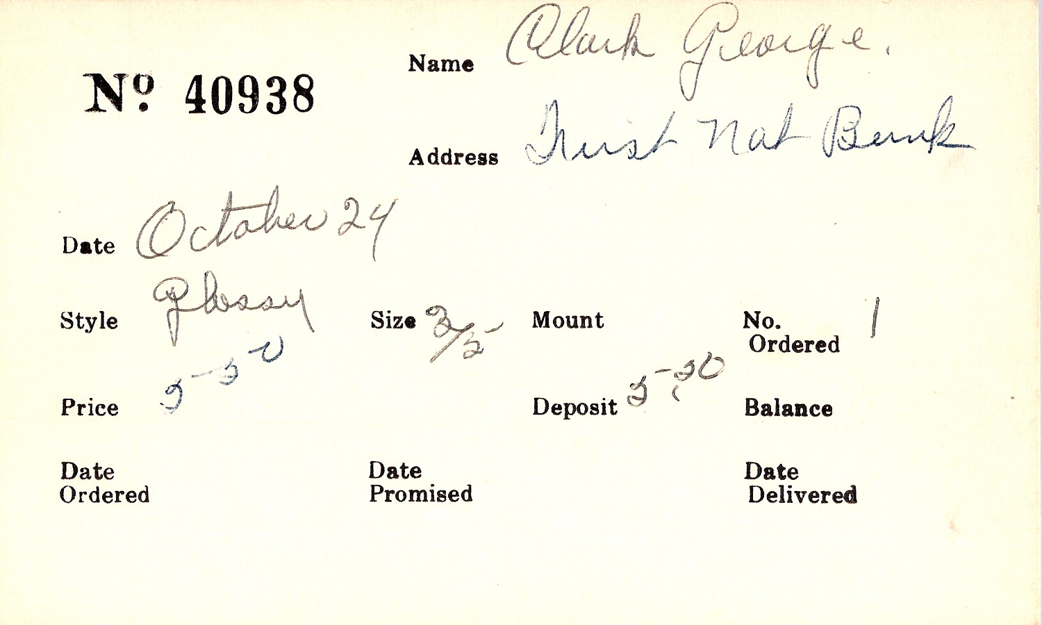 Index card for George Clark