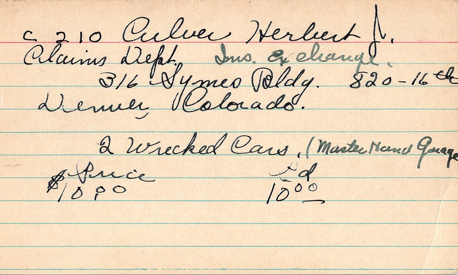 Index card for Herbert J. Culver