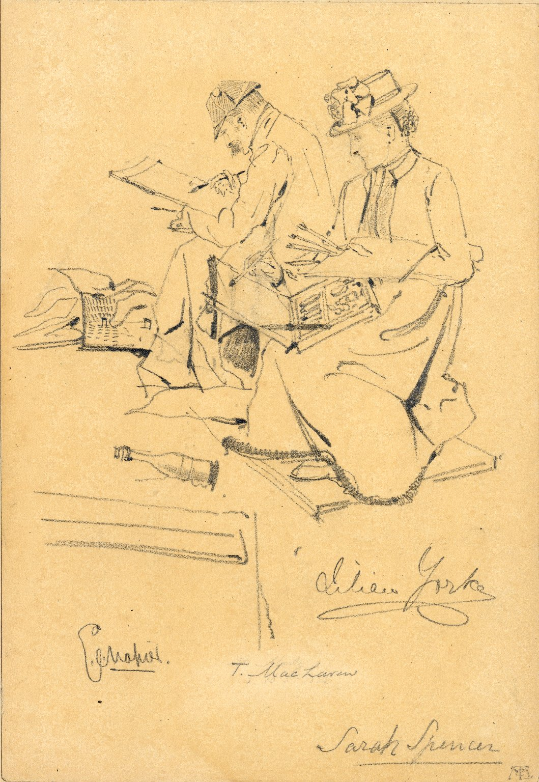 Figures of male and female artists sketching