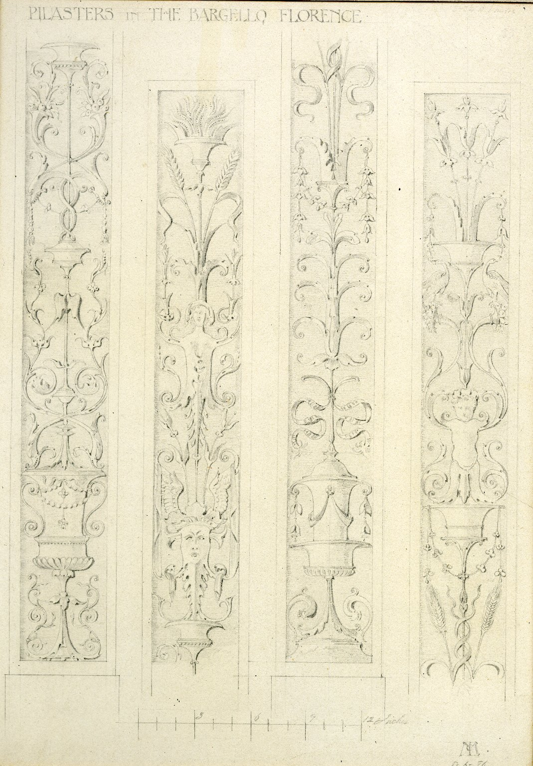 Four pilasters in the Bargello