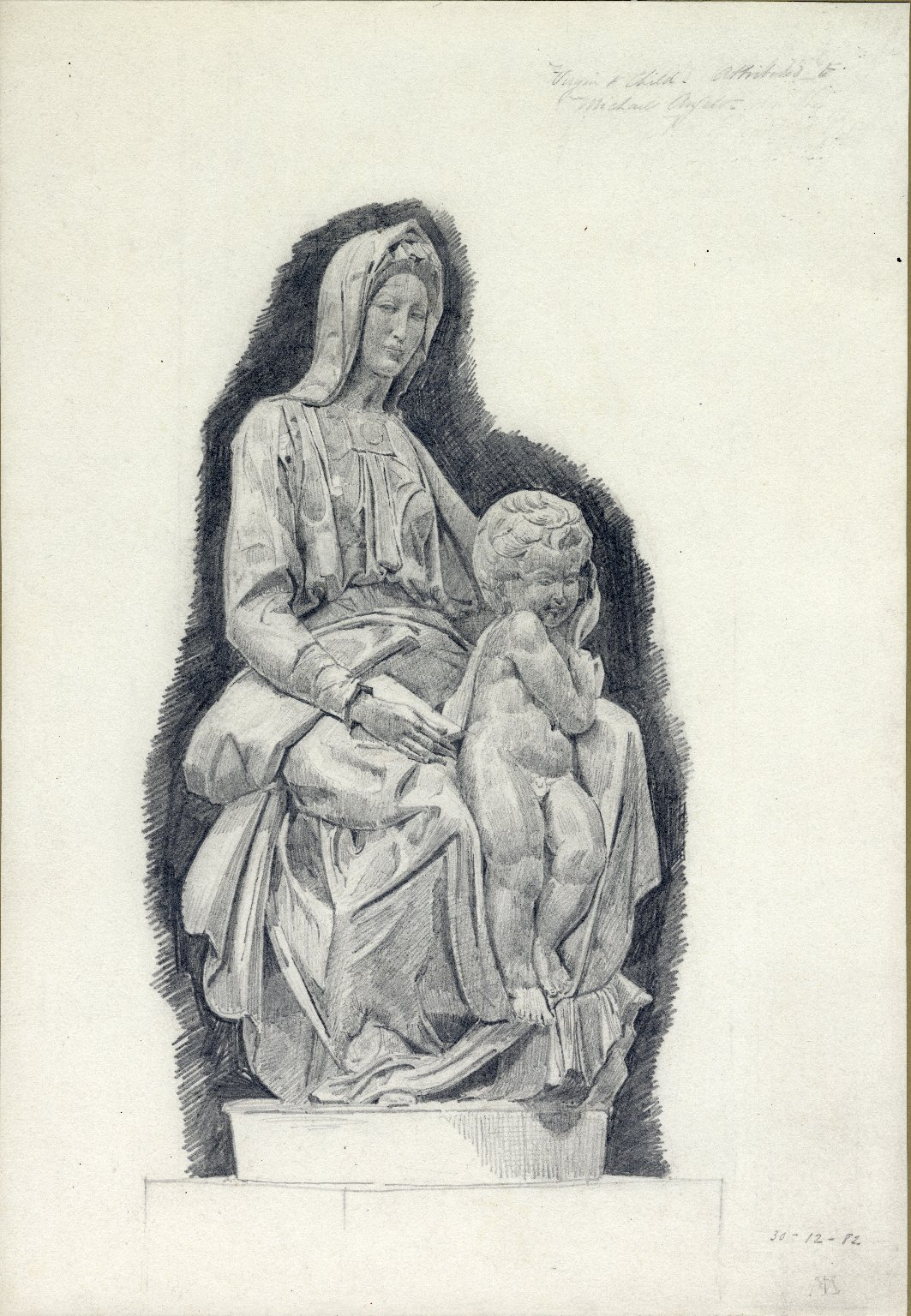 Drawing of statue of the Virgin and Child, attributed to Michelangelo