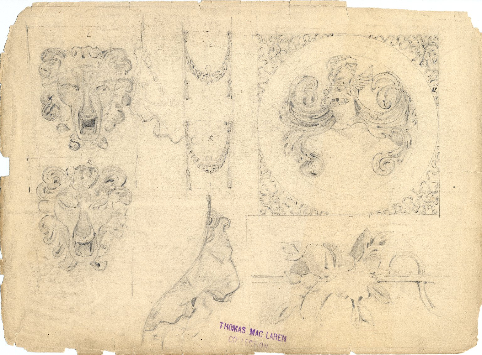 Flowers, coats of arms, and lionheads designs from Monument of the Count de Borgnival