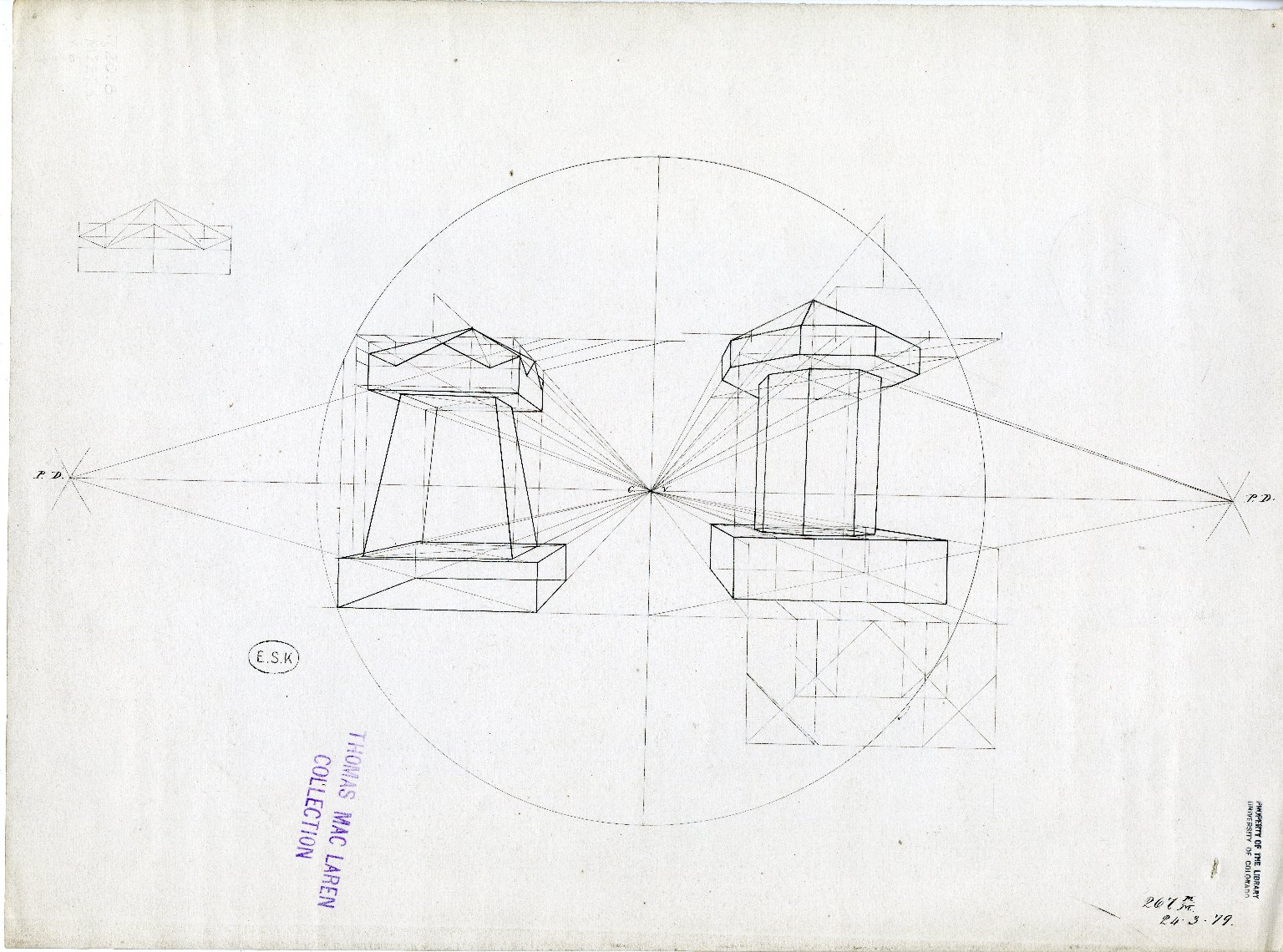Perspective drawing of two obelisks with angled caps