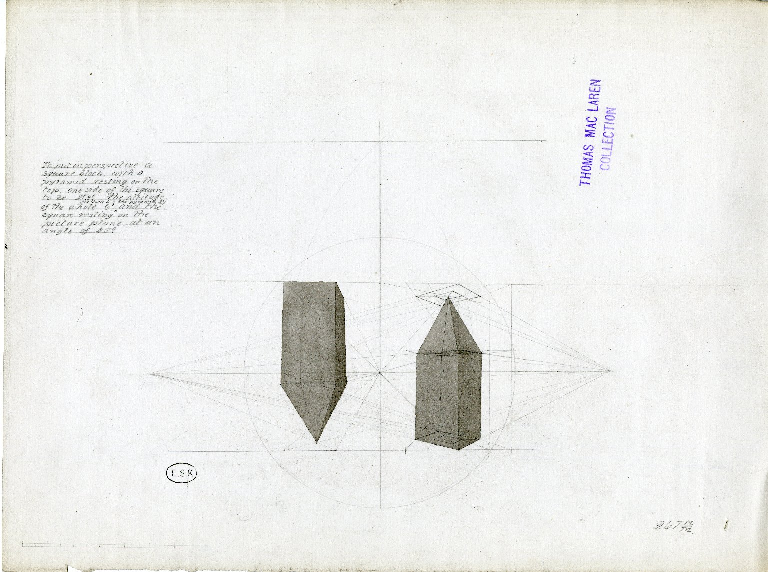 Perspective drawing of square block with pyramid-shaped top