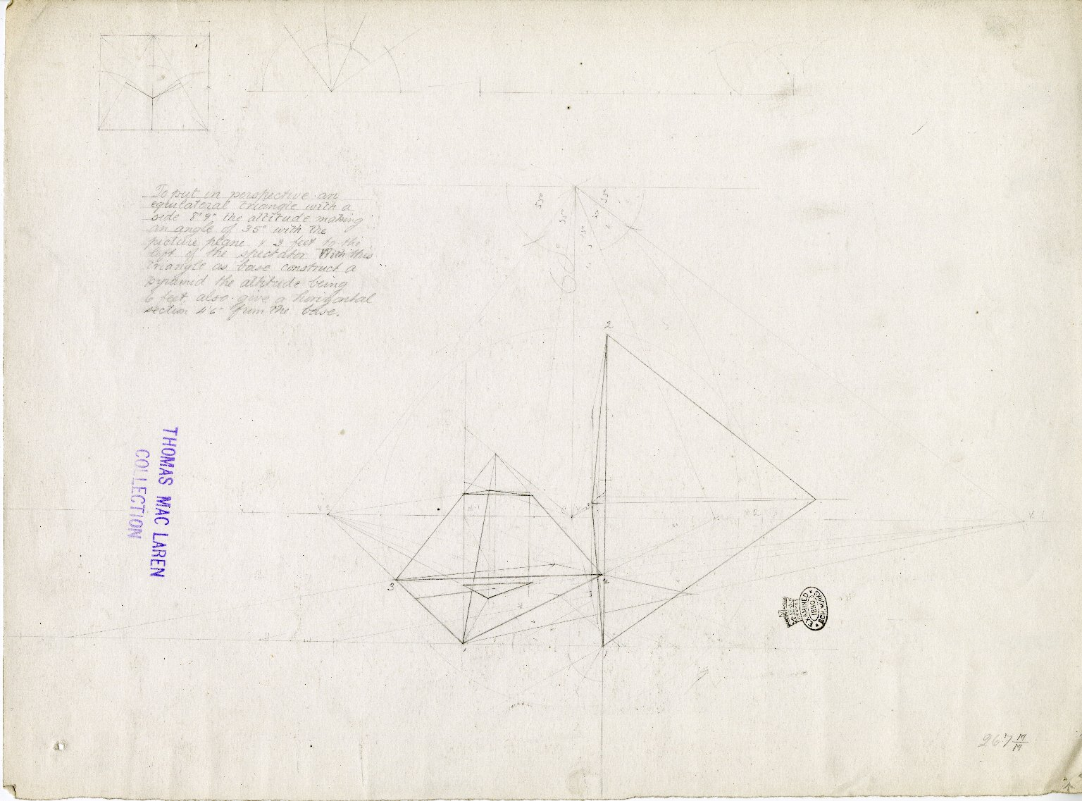 Perspective drawing of equilateral triangles