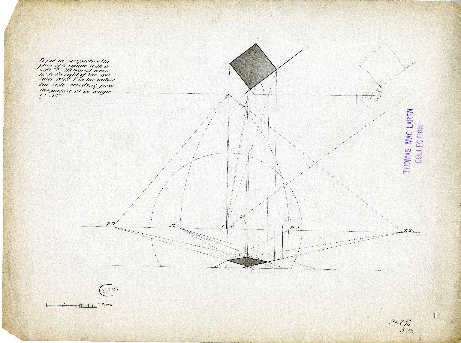 Perspective drawing of rectangular pillar