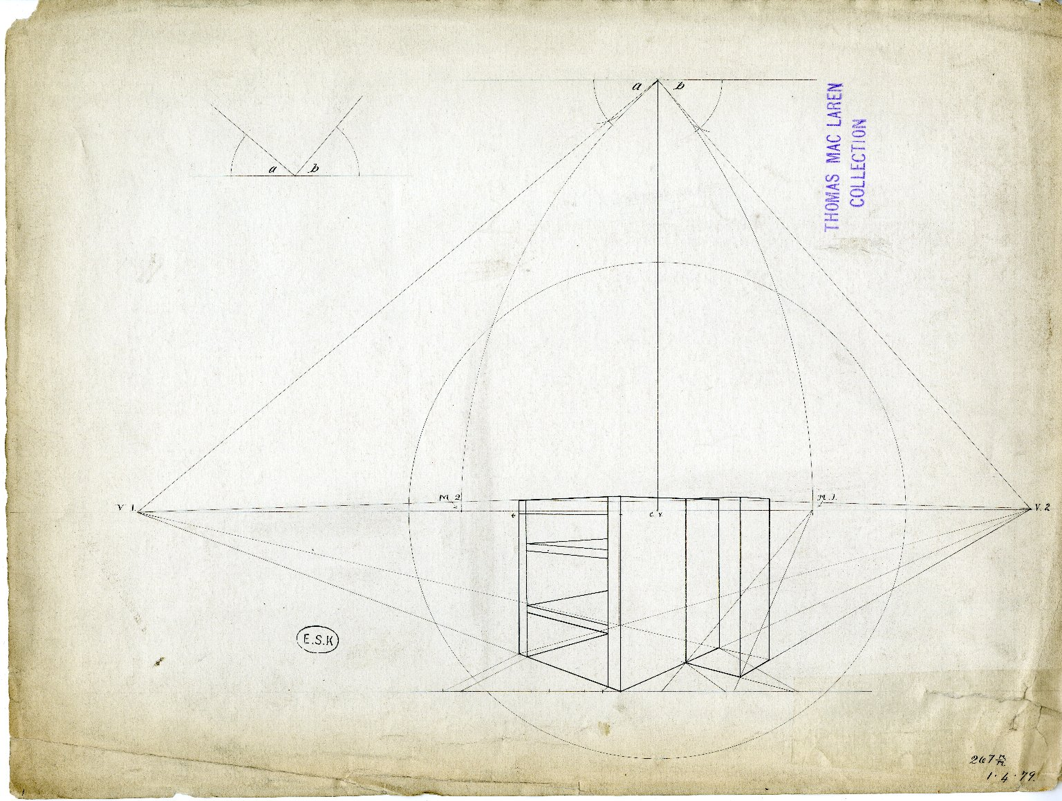 Perspective drawing of open shelf unit and unfinished box