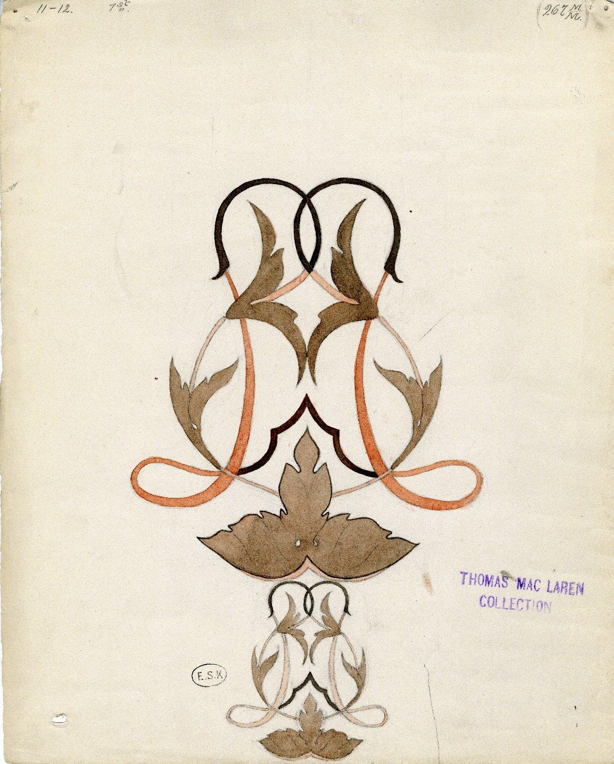 Floral watercolor design in brown, orange, black tones