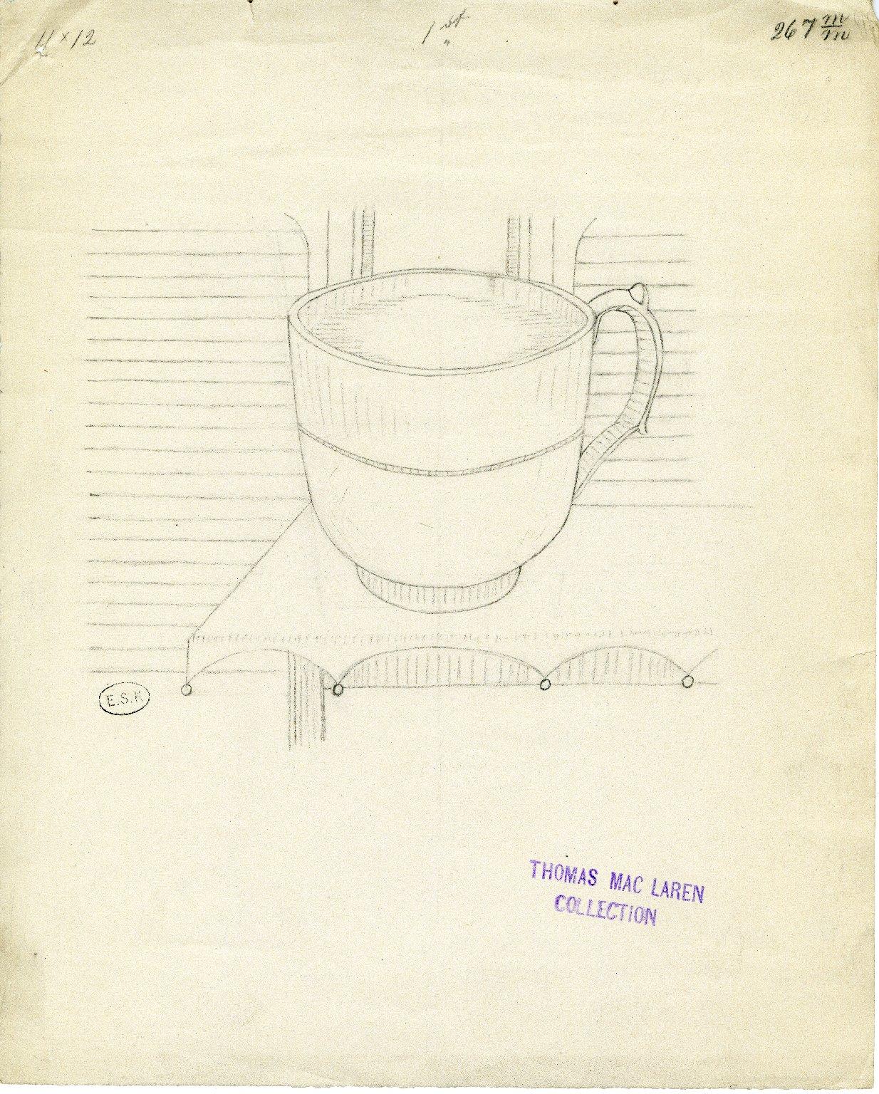 Filled teacup on corner of table