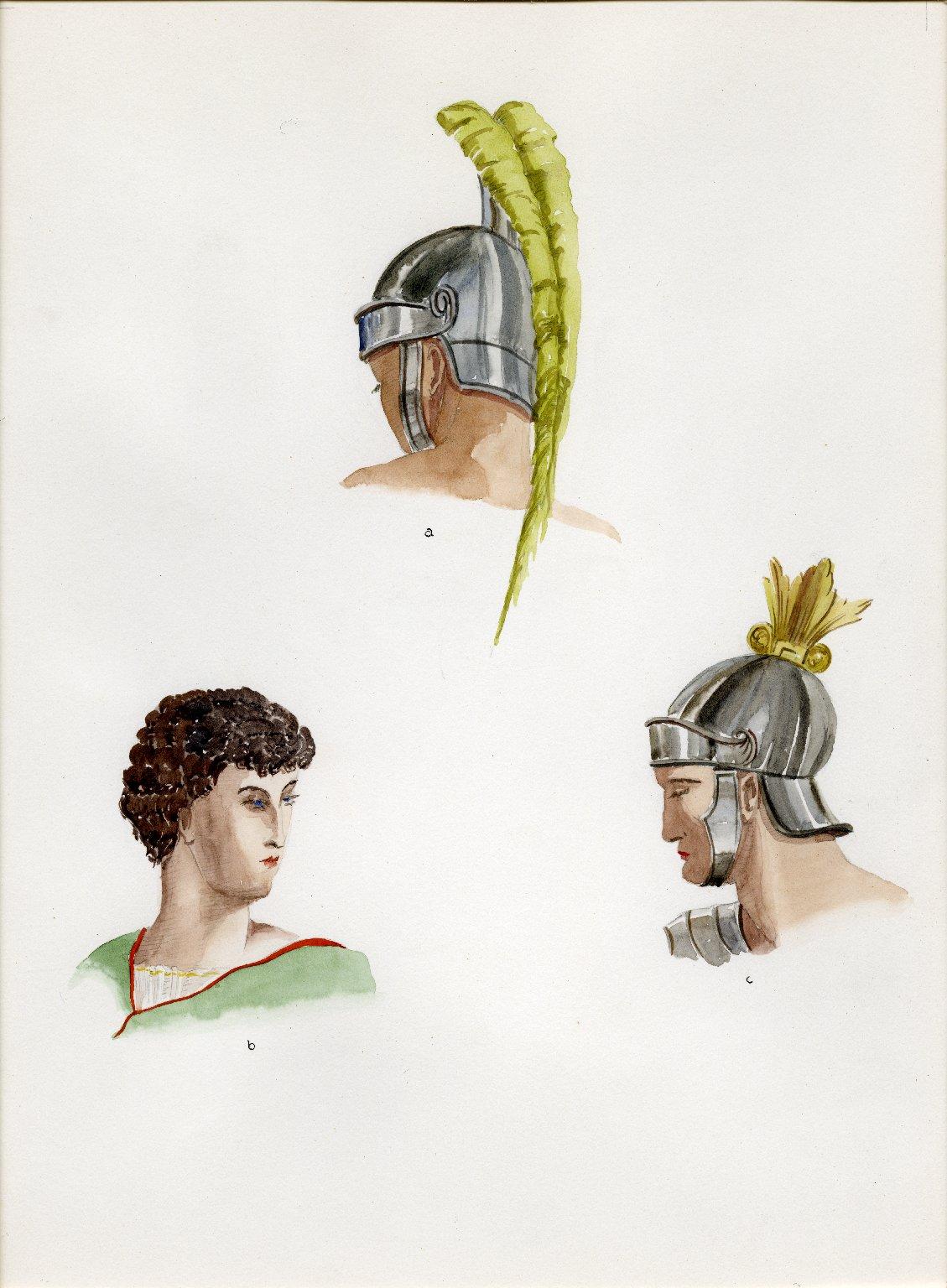 Plate X: Roman helmet, coiffure, helmet