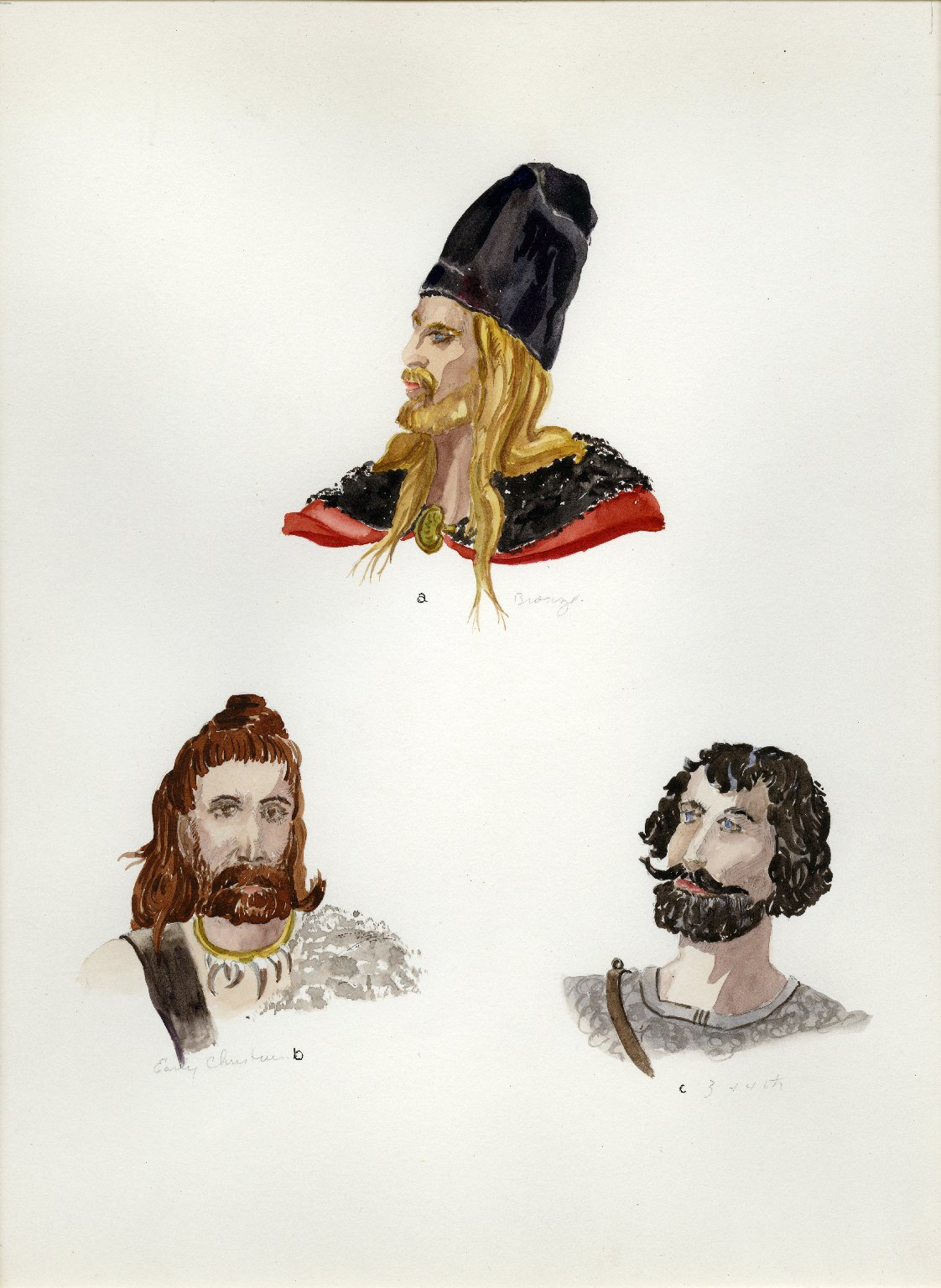 Plate XII: Early Western Europe cap, coiffure