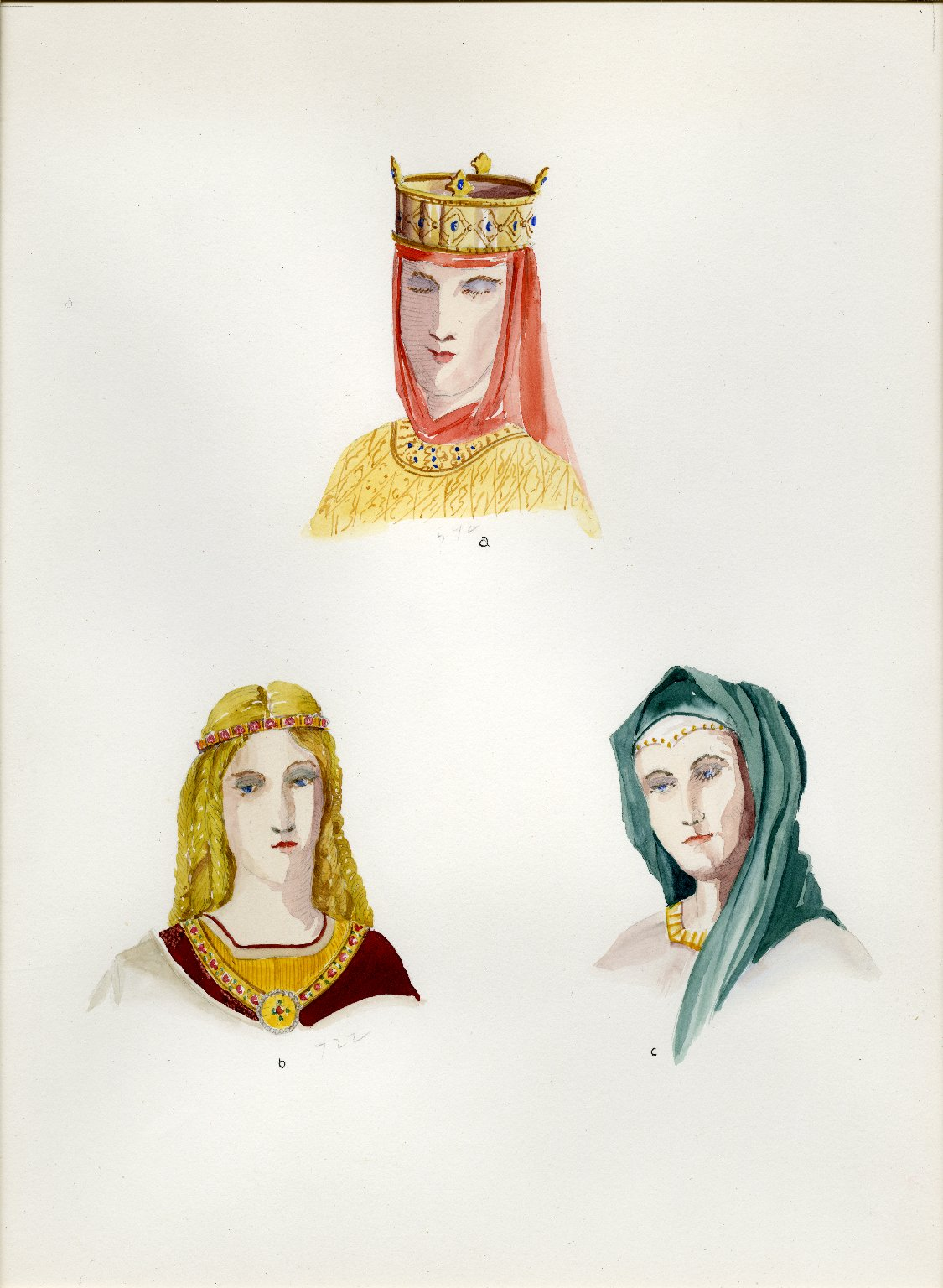 Plate XIV: Dark and Early Middle Ages headdress, coiffure, headdress