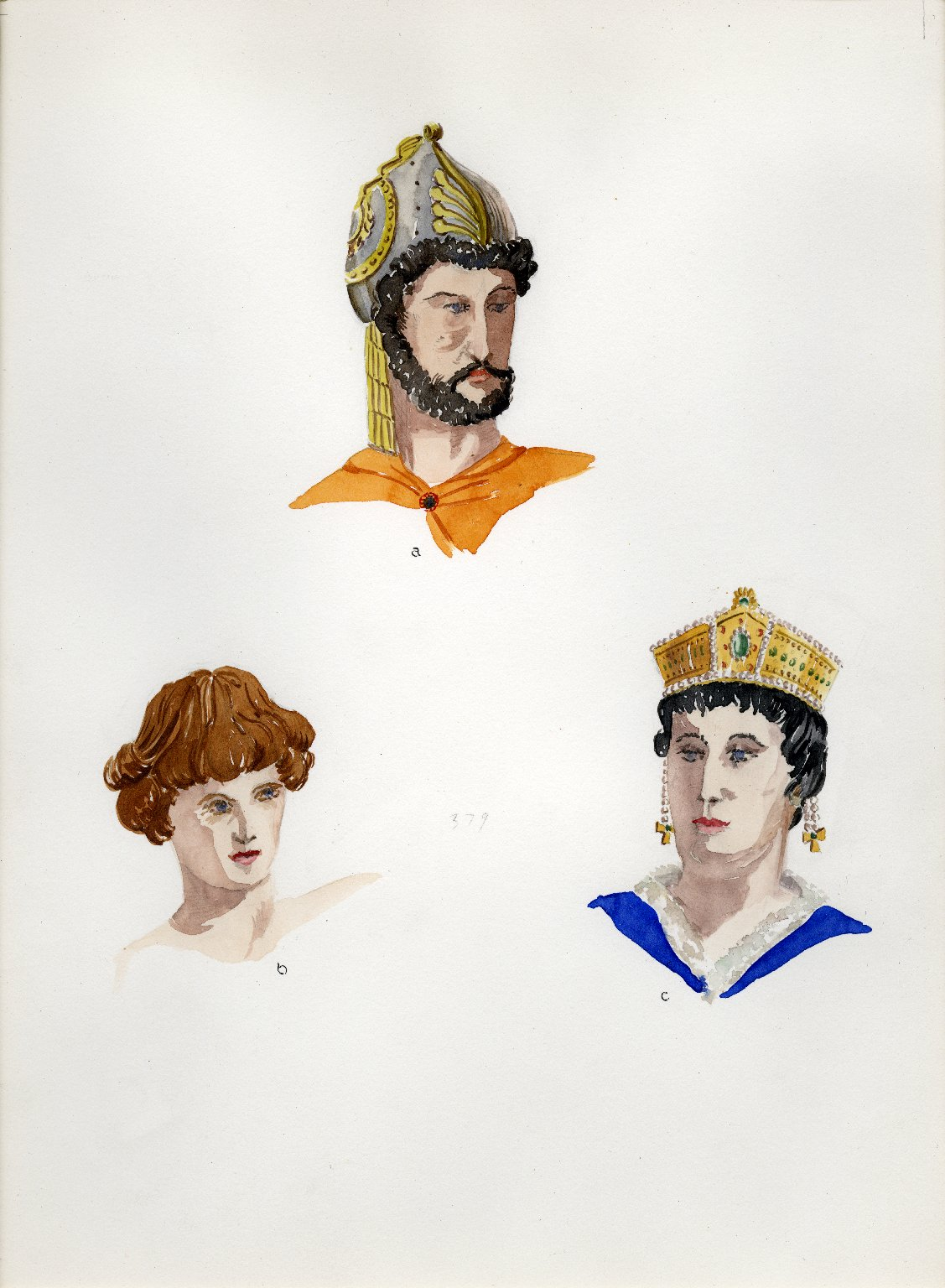 Plate XVII: Dark and Early Middle Ages helmet, coiffure, headdress