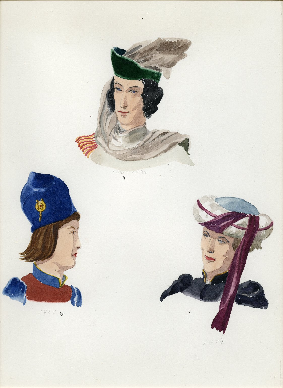 Plate XI: Late Middle Ages English hats